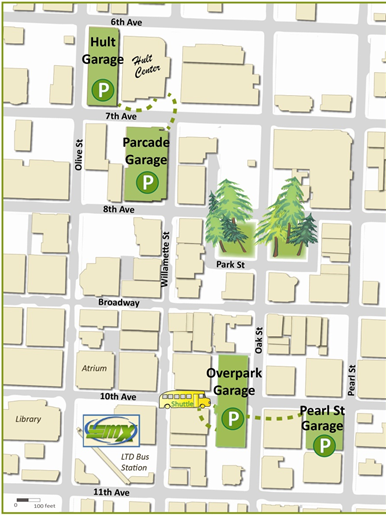 Map of parking garages in Downtown Eugene