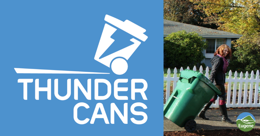 "Text on blue background ""Thundercans Roll Thunder."" next to a woman rolling a garbage can."