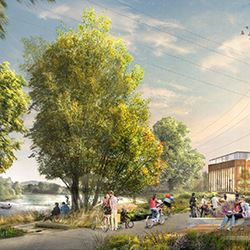 Rendering of the new downtown riverfront park