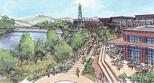 Artistic rendering of the future Downtown Riverfront Development showing a walking/biking path