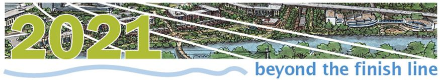 Masthead image for April 2019 Beyond the Finish Line newsletter with rendering of riverfront redevel