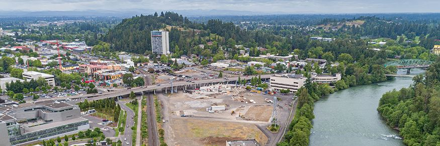 Drone photo of Eugene's downtown riverfont