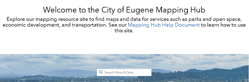 City of Eugene's Mapping Hub site