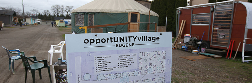 Opportunity Village Eugene can serve up to 45 people at any one time in small bungalows and Conestog