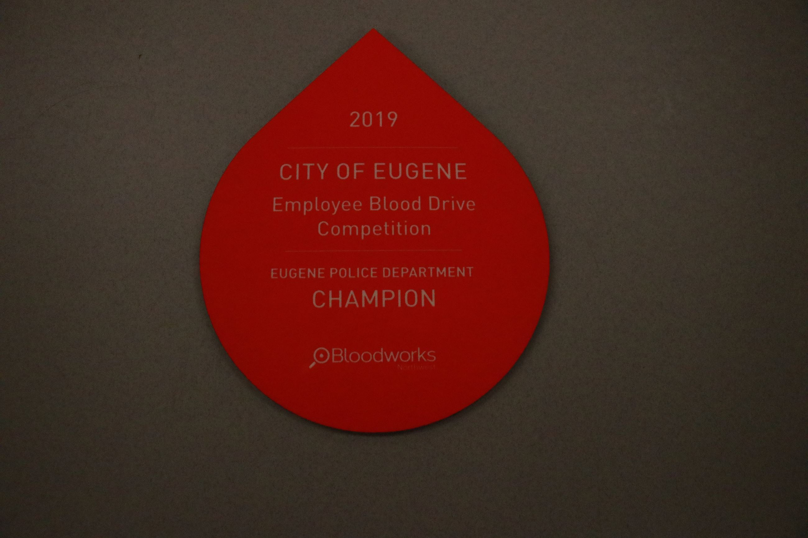 BloodworksNW award plaque