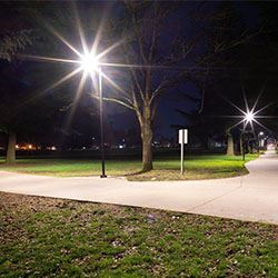 new lighting on a bike path at night