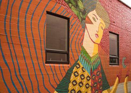 An mural in downtown Eugene created as part of the City's Art in Public Places program.