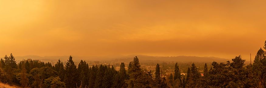 Panoramic view from Skinner Butte during hazardous smoke.