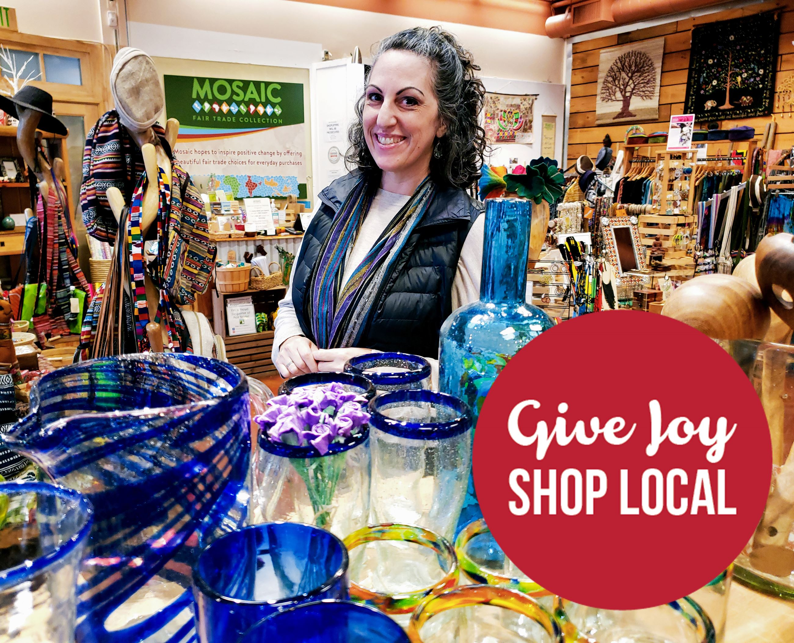 Give Joy: Shop Local. Mosaic Storefront Interior.