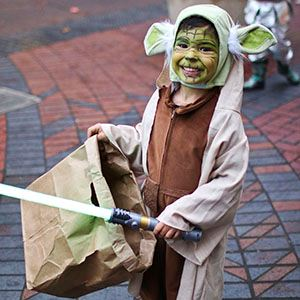 Little Ewok downtown on Halloween