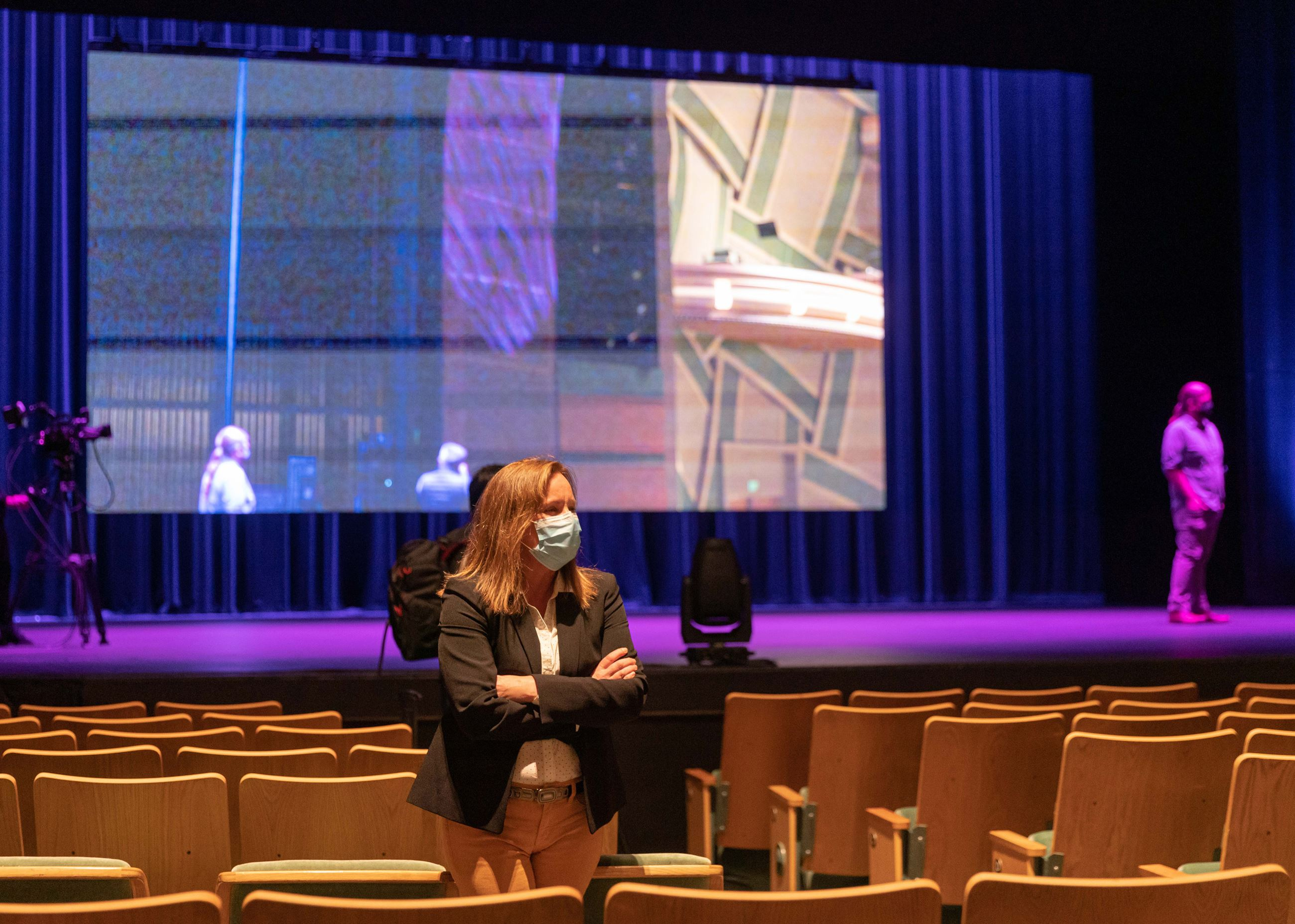 Hult Center for the Performing Arts Director Theresa Sizemore stands inside the venue.