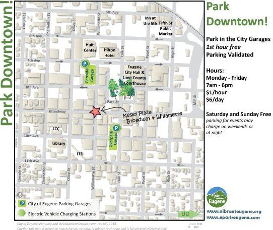Downtown Eugene Parking Validation Map
