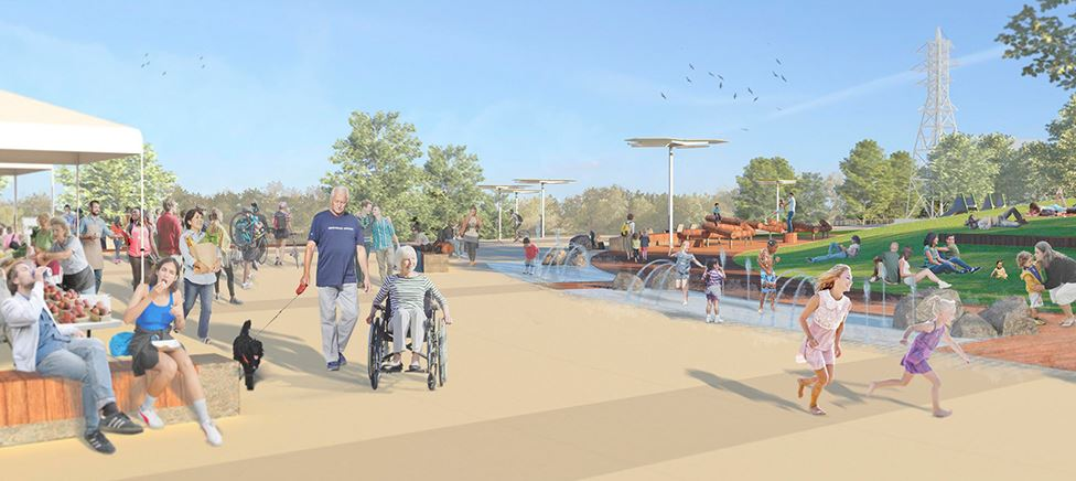 Riverfront illustration with kids water feature
