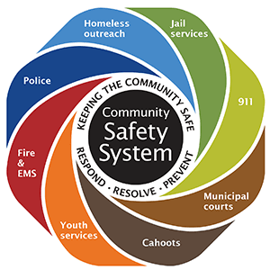 The Community Safety System is made up of an interdependent group of City department and community p