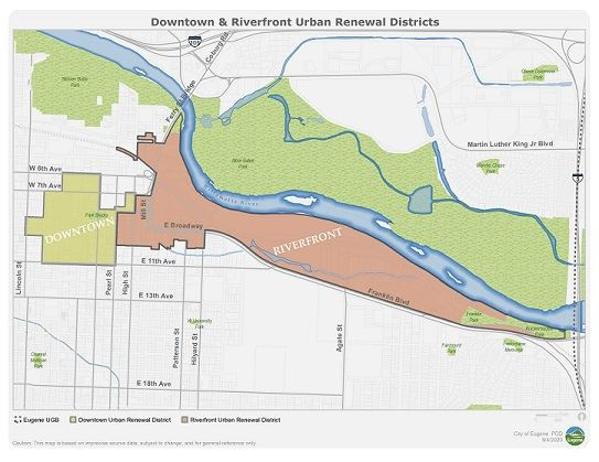 Downtown and Riverfront Urban Renewal Districts Map Small Version 9/2020
