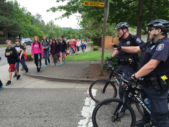 Nature Walk Students and Cops