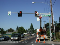 Crew working on traffic lights